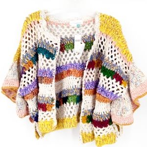 Anthro Hand Crochet Mia Crop Chunky Open Cardigan